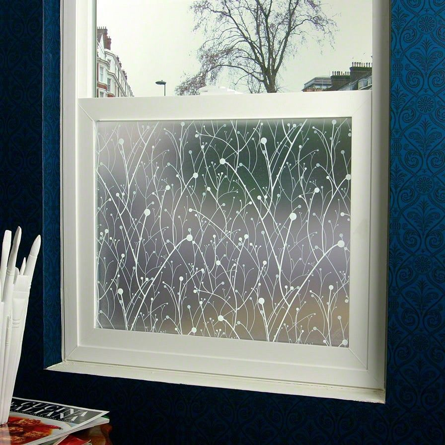 willow designer glass window frosted decorative privacy film 36 x 48 in house improvement. Black Bedroom Furniture Sets. Home Design Ideas
