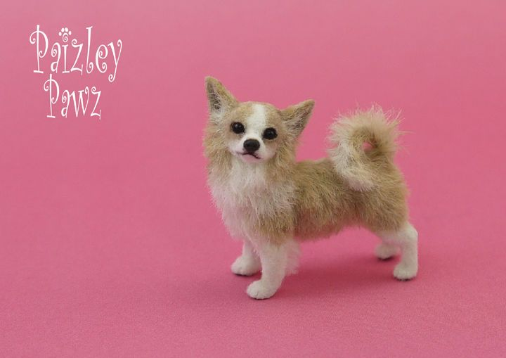 Dollhouse Miniature Longhaired Chihuahua Dog by Paizley