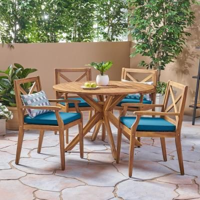 Noble House Llano Teak Brown 5-Piece Wood Outdoor Dining Set with Blue Cushions