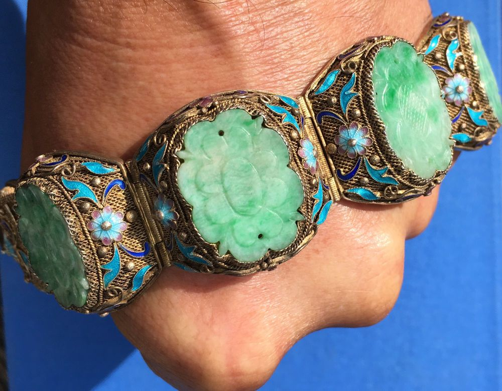 61f88dd2dd7f Fine Antique Chinese Filigree Silver Enamel Carved Jade Jadeite Bracelet  WIDE