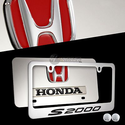 2pcs HONDA S2000 Stainless Steel License Plate Frame with caps ...