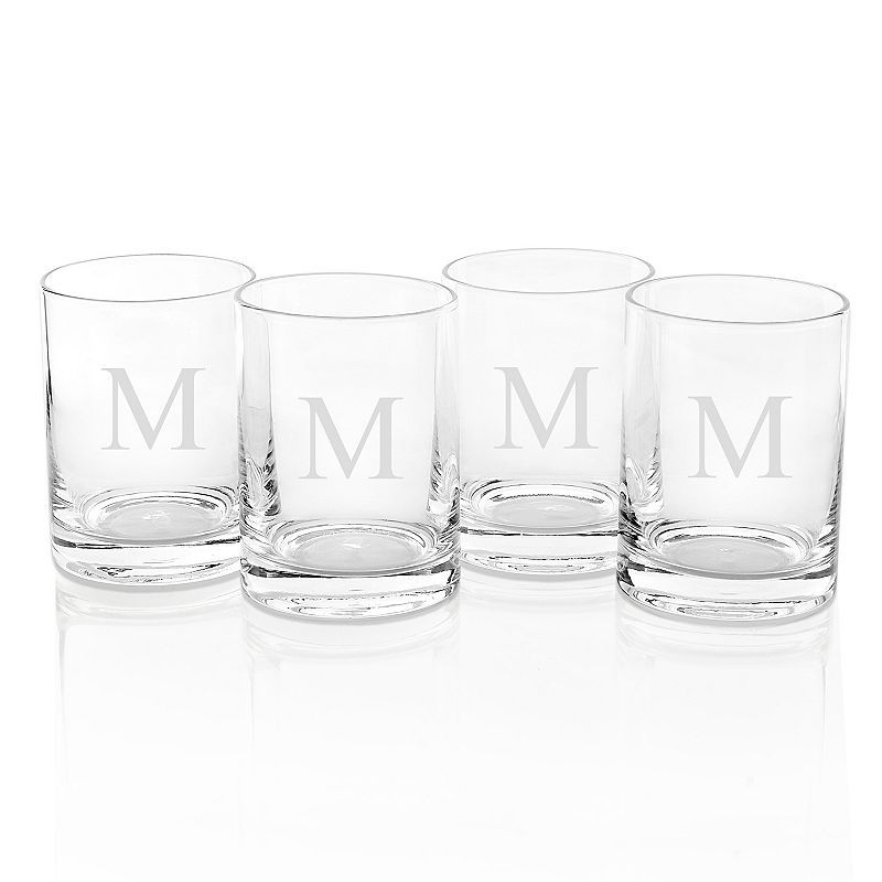 Cathy's Concepts 4-pc. 14-oz. Monogram Double Old-Fashioned Glass Set, White