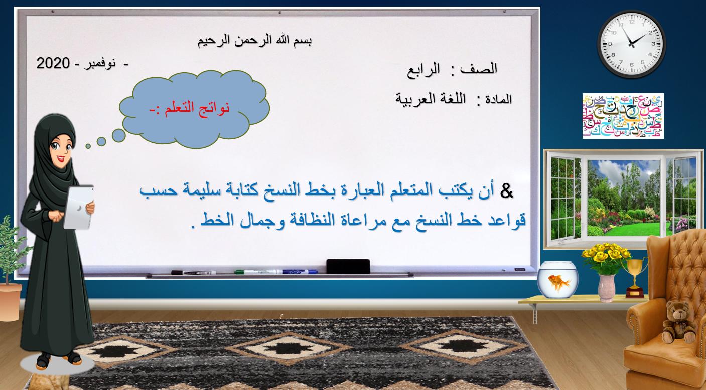 درس خط النسخ الصف الرابع مادة اللغة العربية بوربوينت Home Decor Decals Decor Home Decor