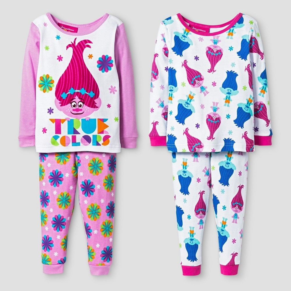 c6d651650d7b Baby Girls  Trolls 4-Piece Cotton Pajama Set - 18 M