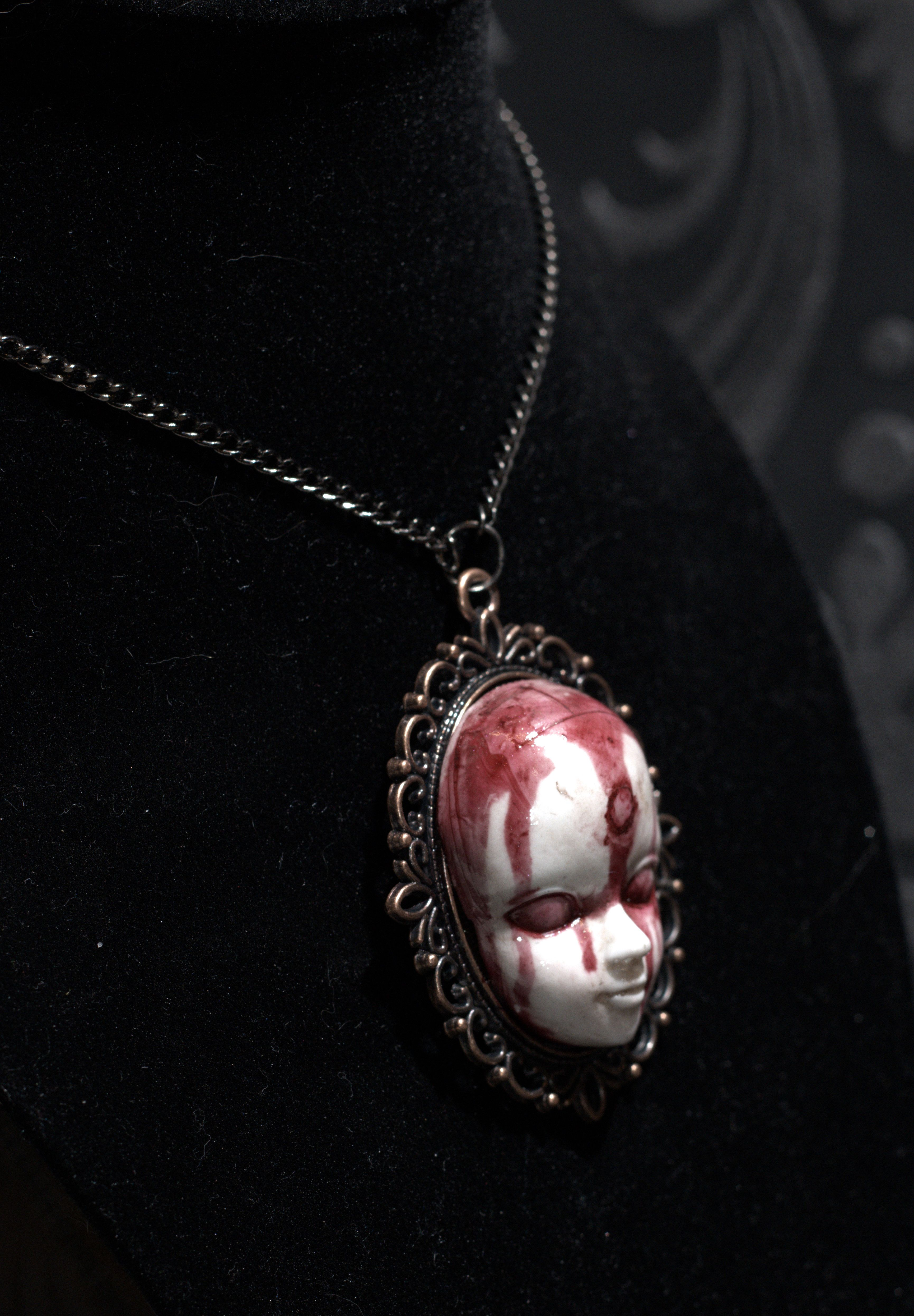 Creepy deformed face pendent necklace hand made bronze