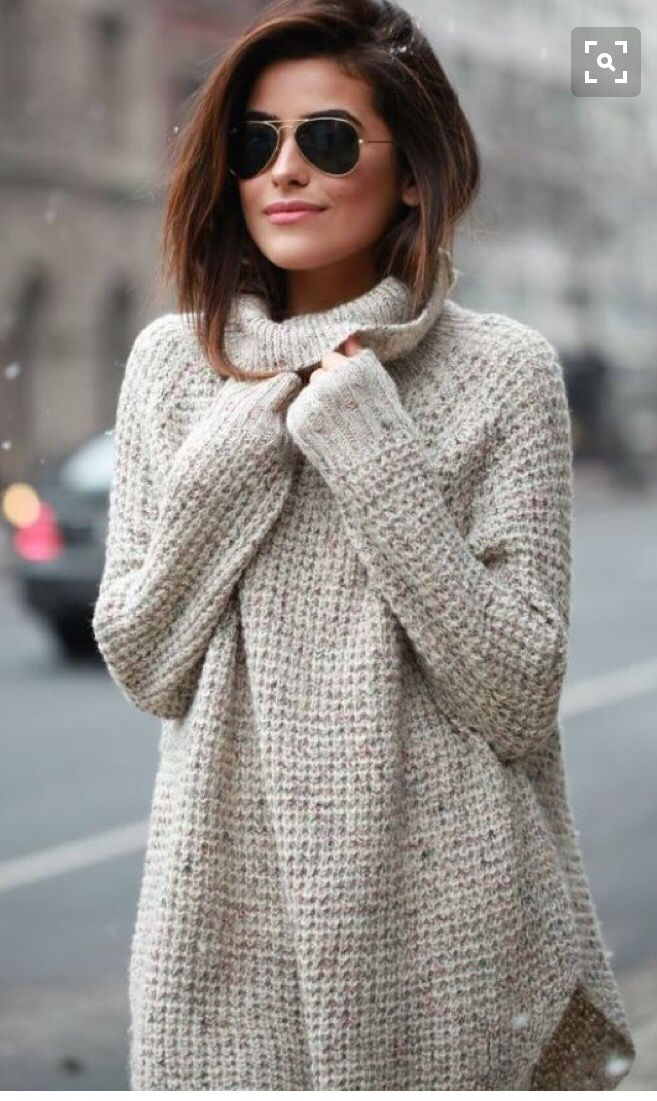 This looks so comfy! Beige/light grey waffle sweater with aviator ...