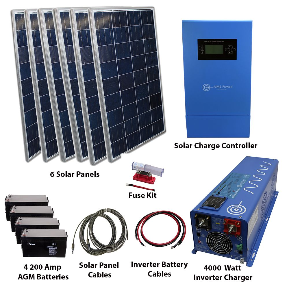720 Watt Solar 4000 Watt Pure Sine Power Inverter Charger 120 240 Vac Kit Off Grid Solar Energy Panels Solar Panels Best Solar Panels