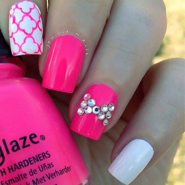Acid pink nails, Beautiful nails 2016, Beautiful summer nails, Bow nails, Bright summer nails, Glamorous nails, Manicure by summer dress, Nails ideas 2016