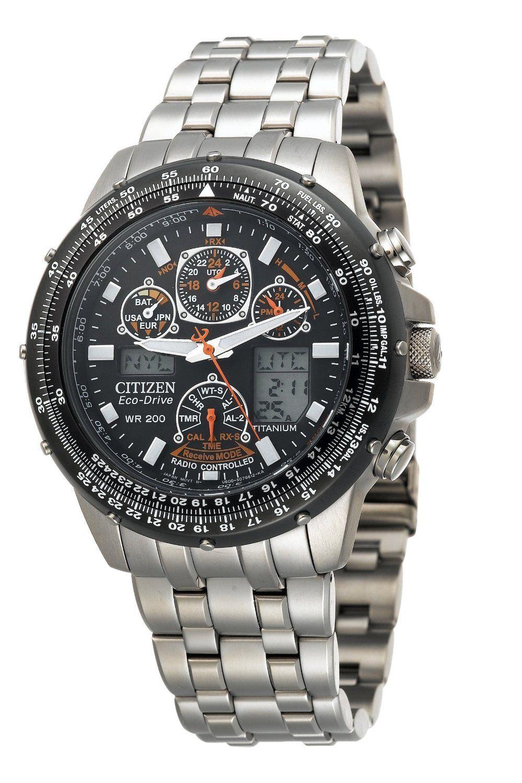 Citizen Men S Eco Drive Skyhawk A T Titanium Watch Titanium Watches Luxury Watch Brands Aviator Watch