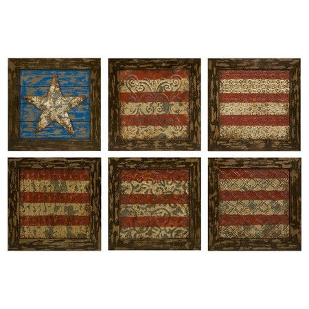 Six-piece antiqued wall art set. Product: 6 Piece framed wall décor ...