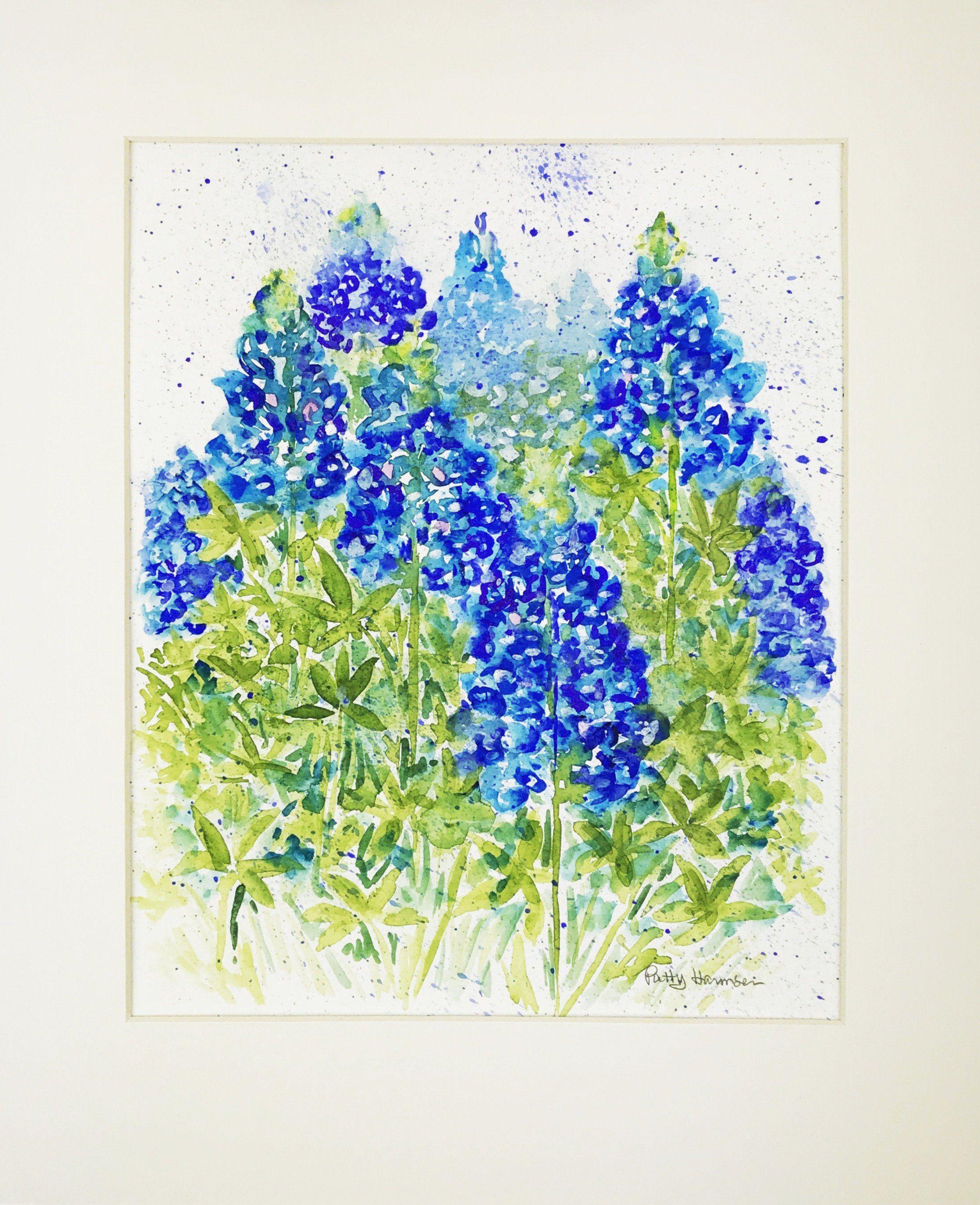 Texas Bluebonnet Watercolor Floral Watercolor Home Decor