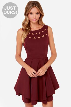 Exclusive Flirting With Danger Cutout Burgundy Dress