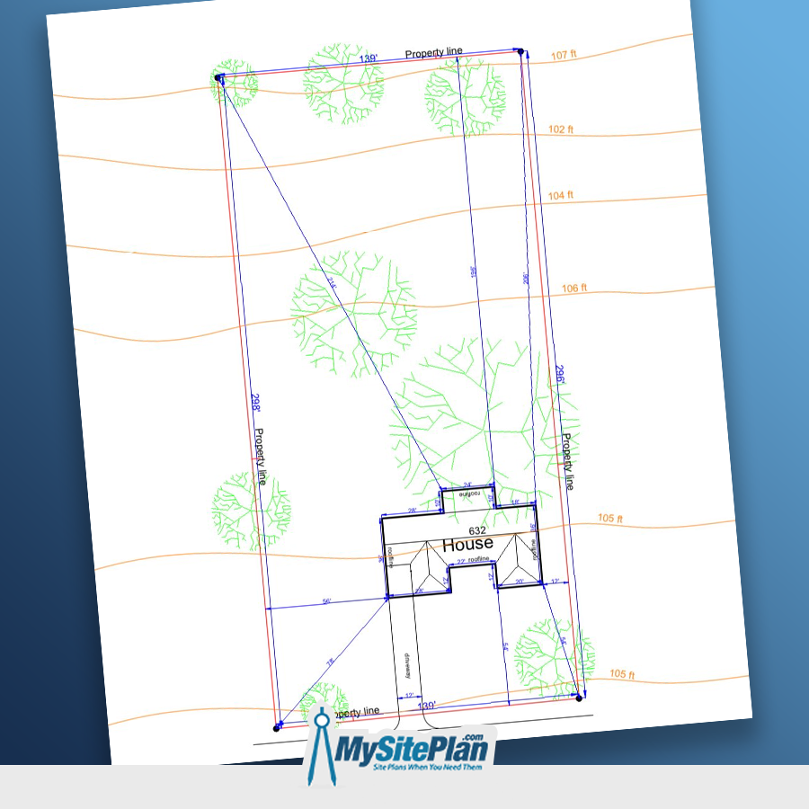 Check out this example of contour lines on this site plan. We show topographical information using GIS data In 2-5' increments depending on the records available.  Order your site plan now: www.MYSITEPLAN.com   #commercialsiteplan #construction #contractors #customsiteplan #decor #decoration #homedecor #homedesign #instahome #instahomedecor #instahouse #interiordesign #landscapes #realtors #residentialsiteplan #siteplan