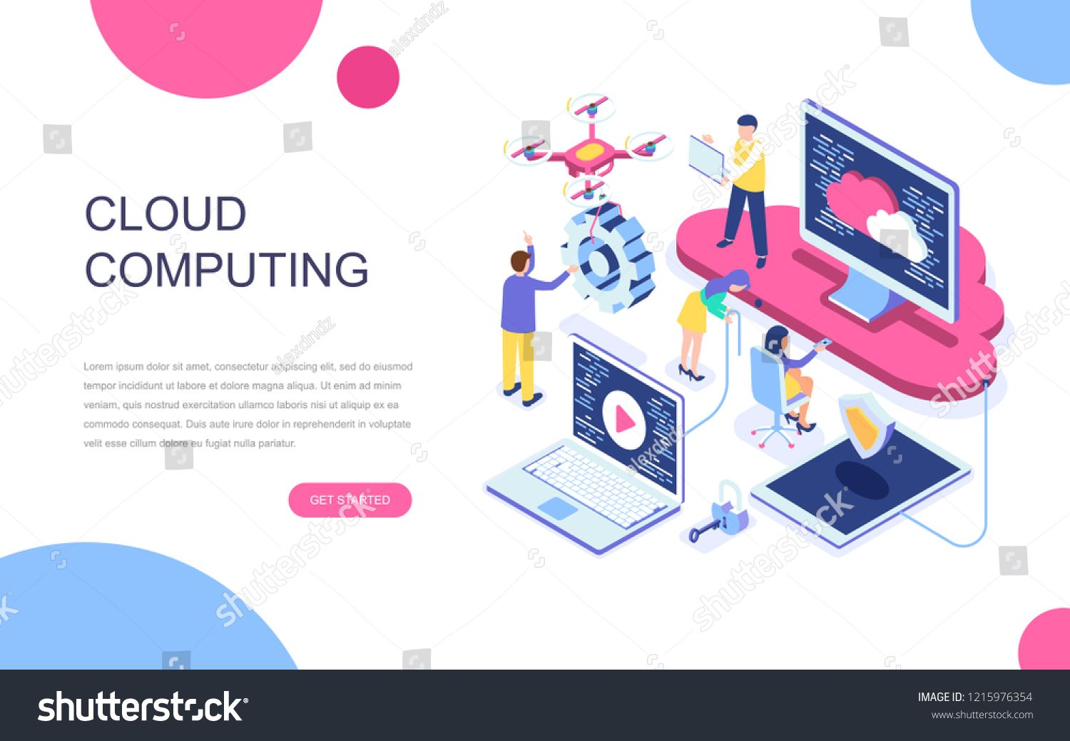 Modern Flat Design Isometric Concept Of Cloud Technology For Banner And Website Isometric Landing Page Template In 2020 Cloud Computing Services Modern Flat Isometric