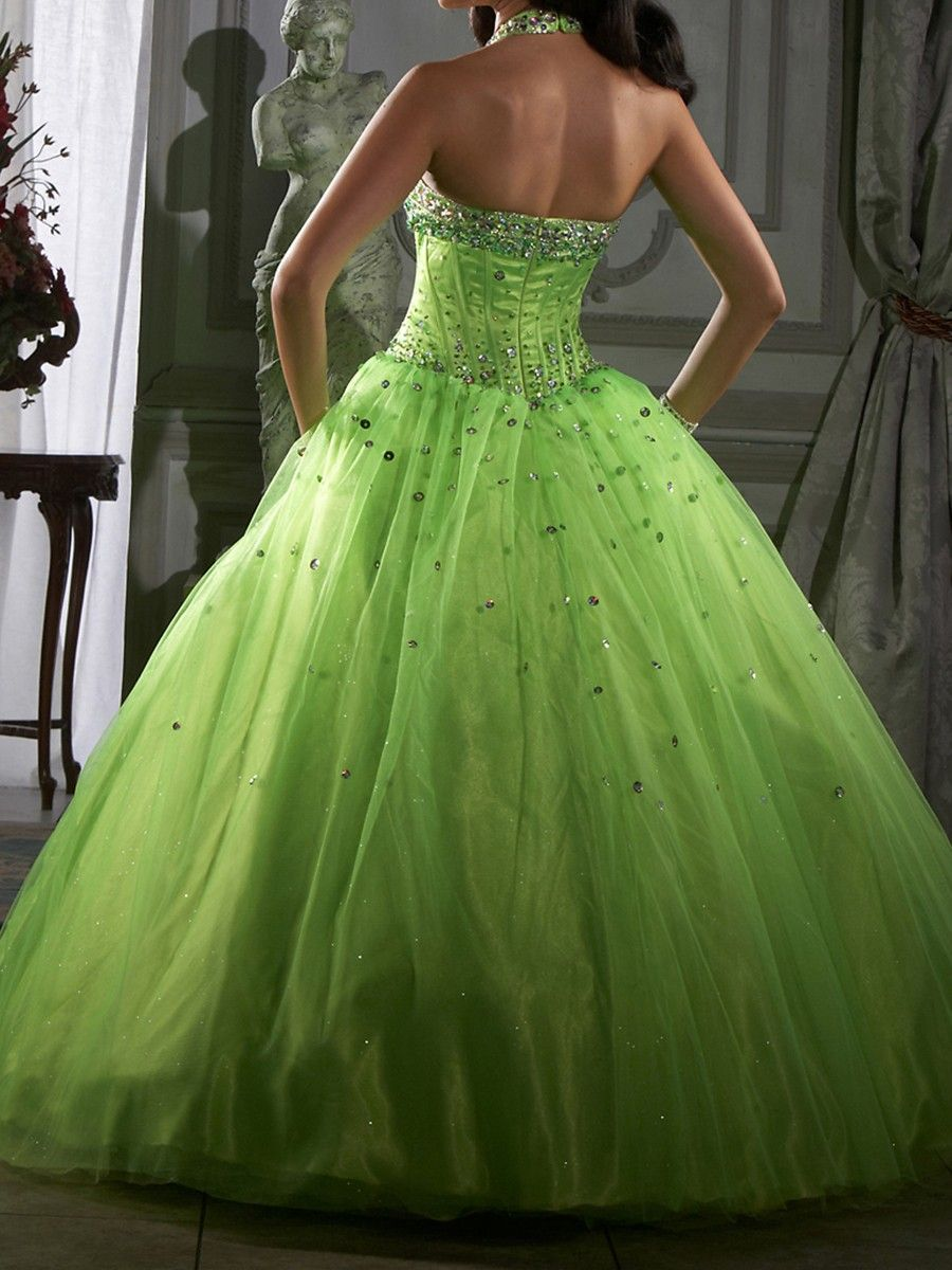 light green ball gown | Distinctive Green Tulle Ball Gown Beaded ...