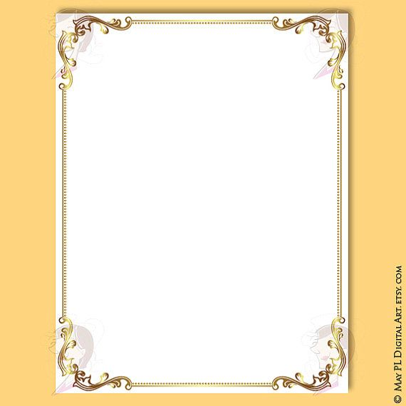 document frames page borders 8x11 gold floral foliage leaf retro wedding clipart award certificate form diploma invitation graphics 10548