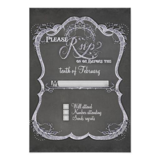 Chalkboard Typographic Leaf Swirl Rustic Wedding Invitations