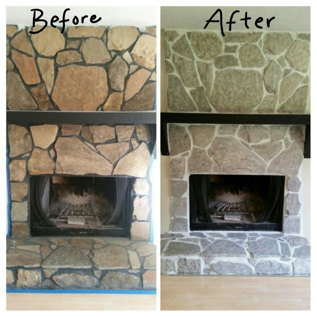 Before and after 1970s fireplace . Grout painted white