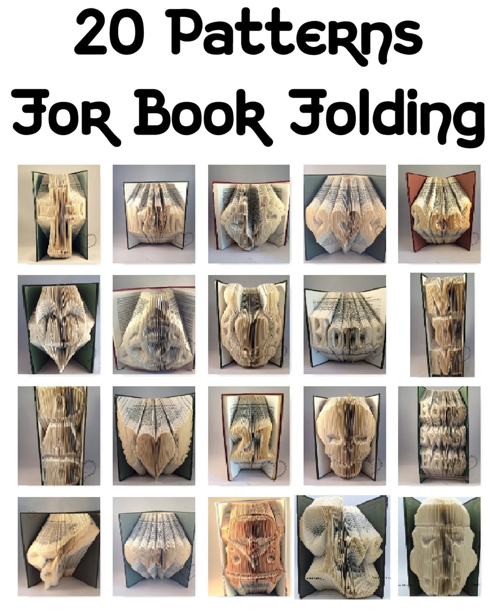 20 Patterns for Book folding patterns, book art,  to create your folded books