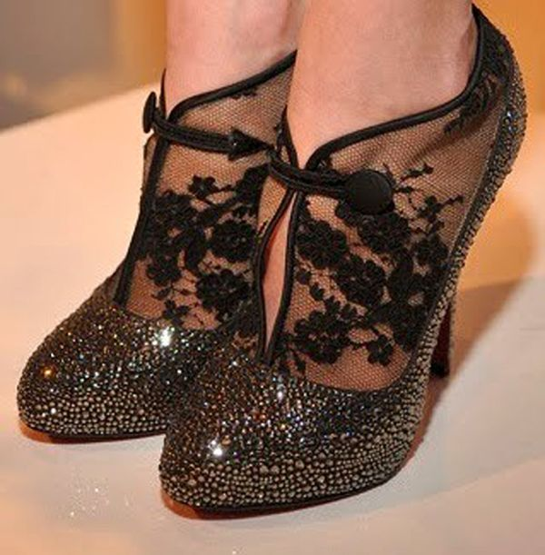Louboutin Clic Clac Lace Booties 250 Namely Red Bottom Shoes