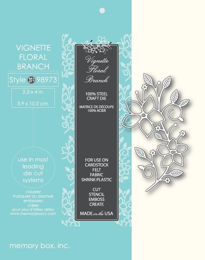 Memory Box Die 98973 Vignette Floral Branch for Cuttlebug & Sizzix Free Shipping