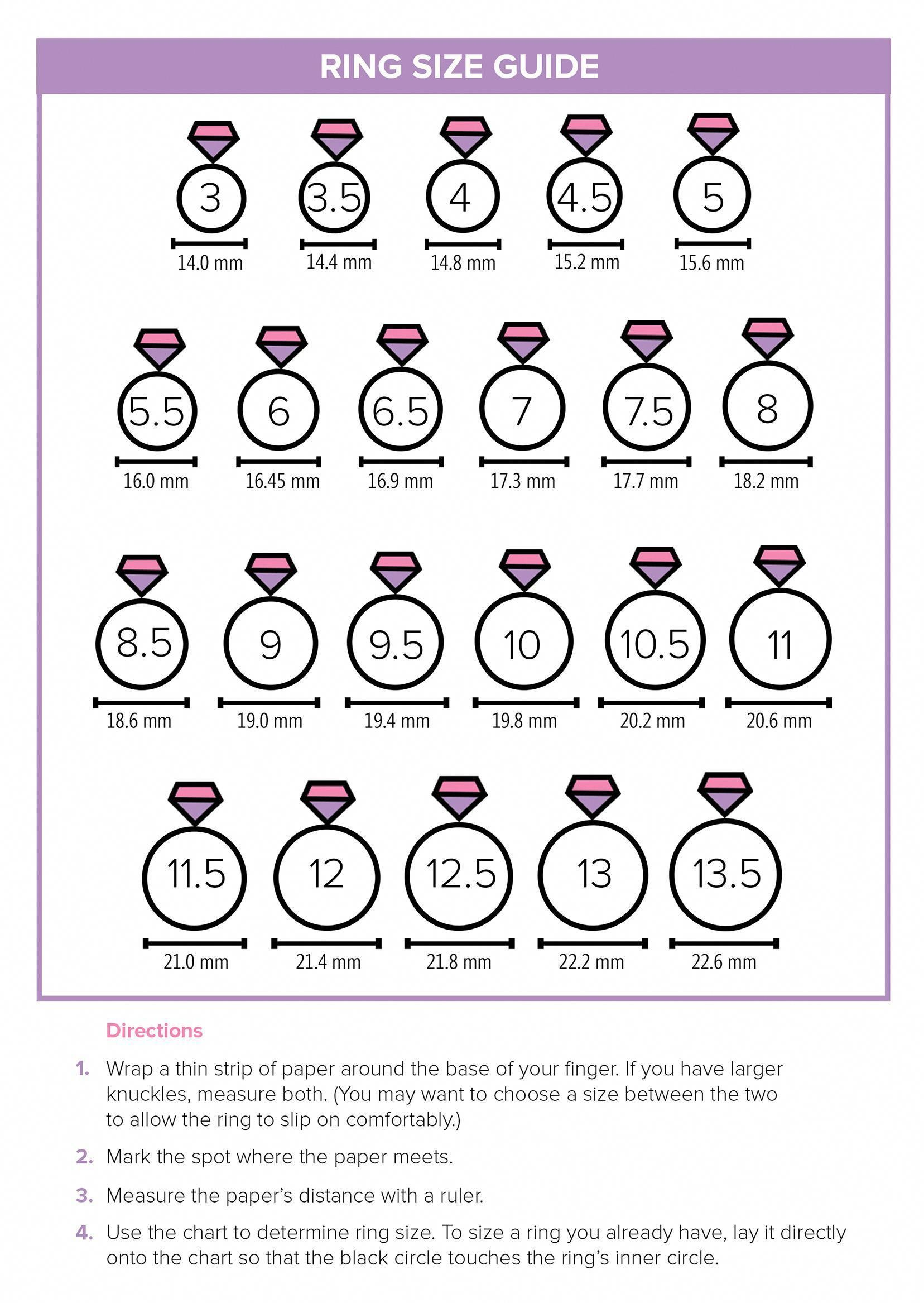 This Printable Ring Size Guide Will Help You Find The Right Size For Your Fingers Weddingrings Wedding Ring Sizes Ring Size Guide Ring Sizes Chart