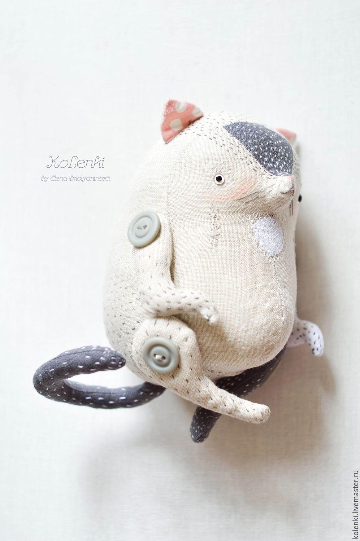 Купить Котейка Льняной - серый, серенький коток, серый котик, серый ...