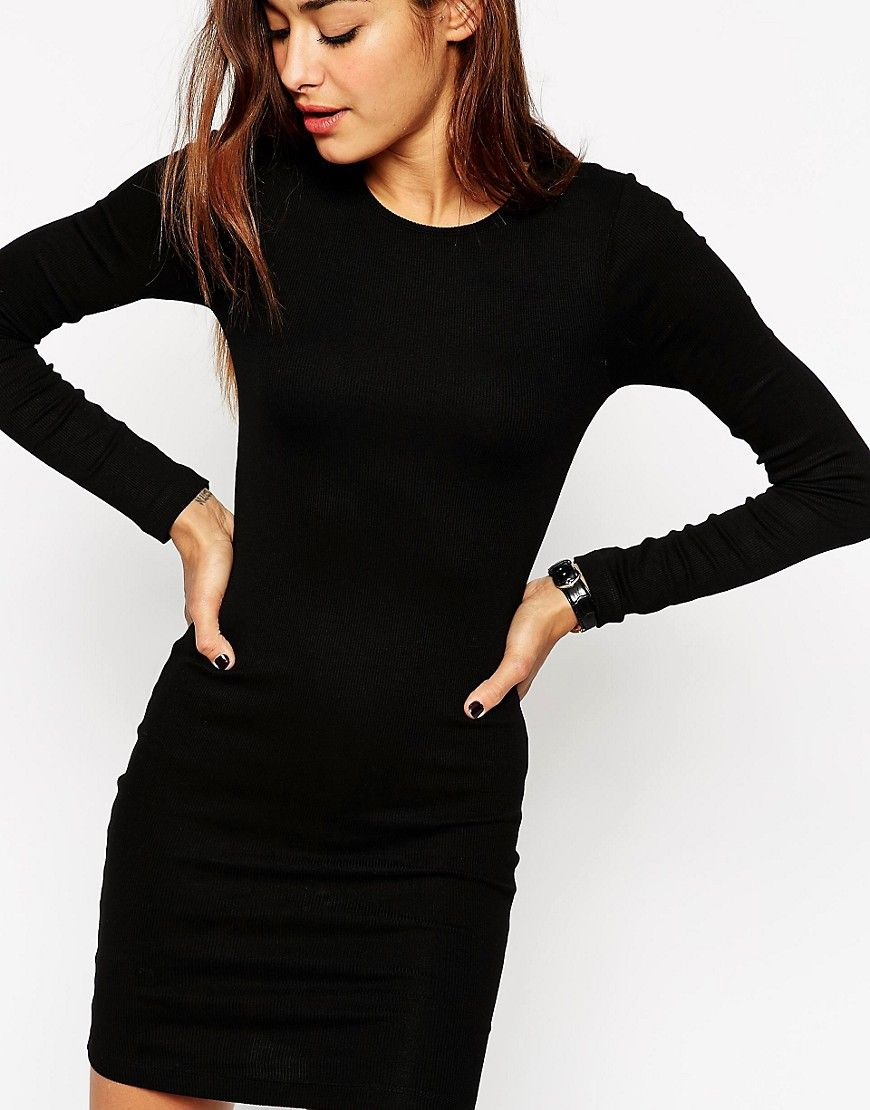 a08784c17ff Asos Mini Bodycon Dress With Long Sleeves In Rib in Black
