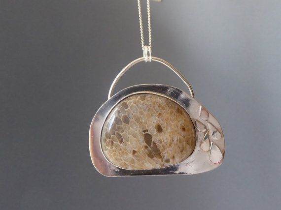Petosky stone pendant necklace Sterling by CarrawayCreekSilver