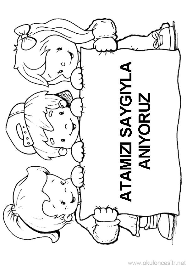 10 Kasim Etkinligi Kalibi Okuloncesitr Preschool Boyama Sayfalari Aplike Sablonlari Okul Oncesi
