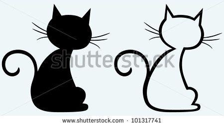 Black cat silhouette - stock vector