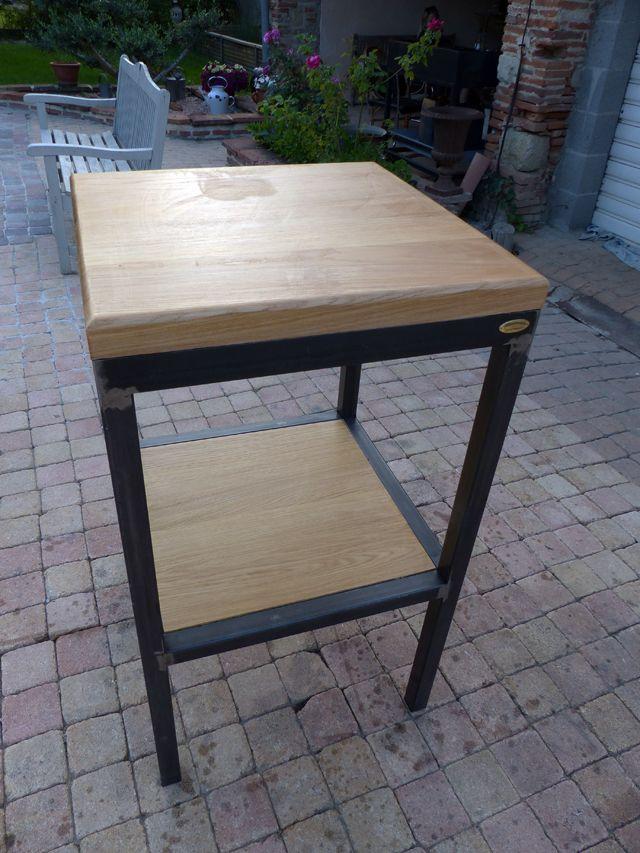 Fabrication table d 39 appoint style industriel bois et m tal - Fabrication table bois ...