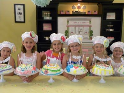 cake decorating party...love the name banners