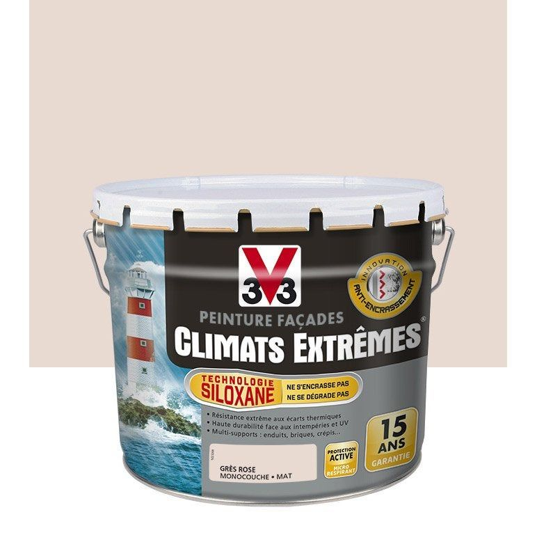 Peinture Façade Climat Extreme V33 Gris Rose 10 L Gris