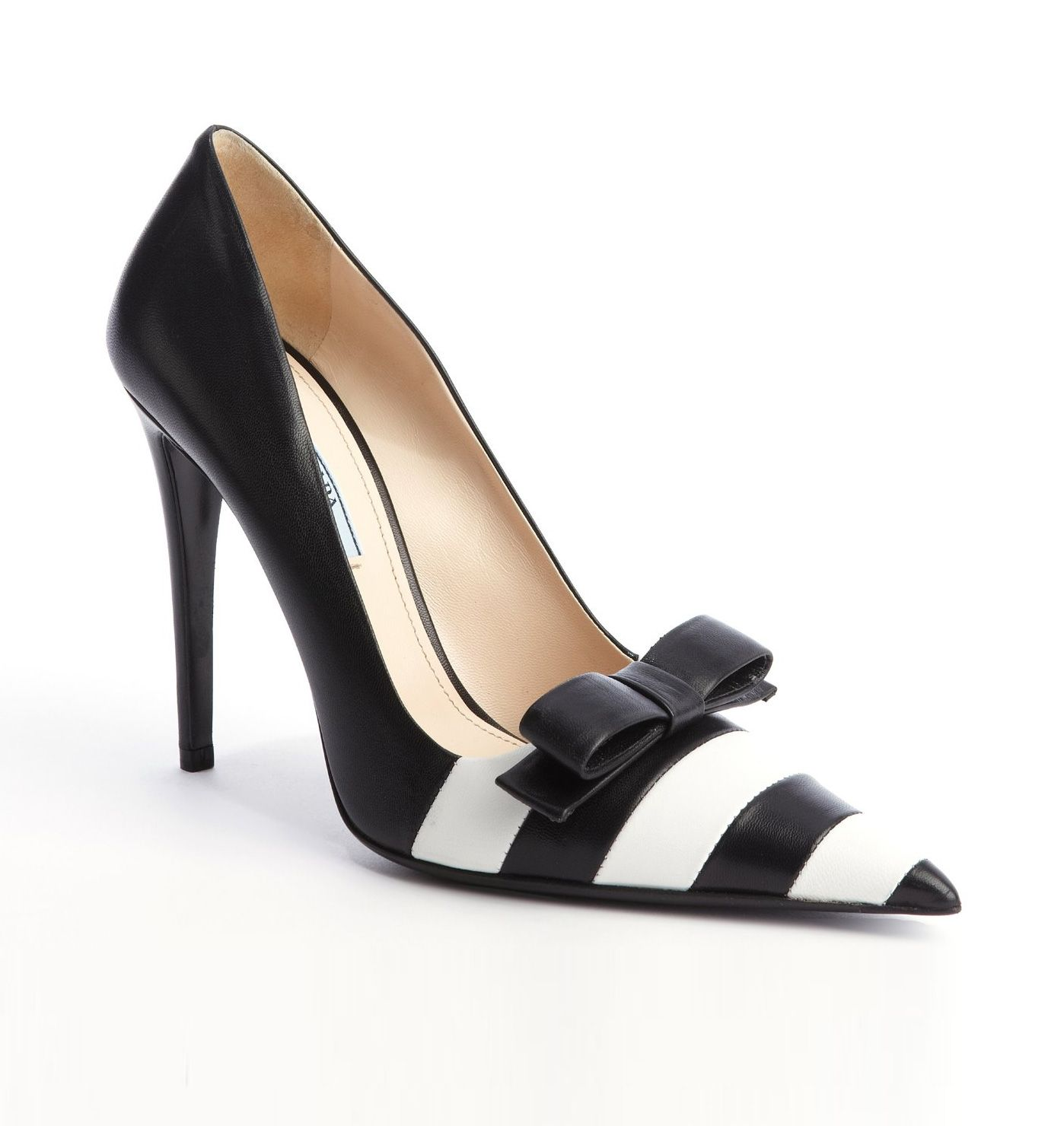 PRADA Black And White Striped Leather Bow Detail Pumps ...