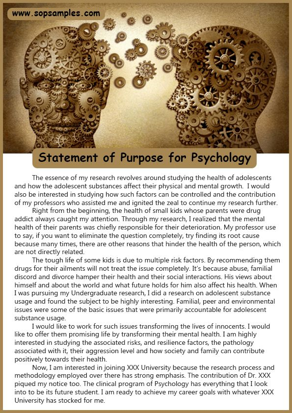 Psychology Statement Of Purpose Example  Sop Samples