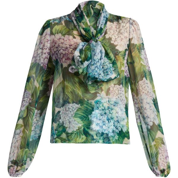 5b398617477970 Dolce & Gabbana Hydrangea-print tie-neck silk-chiffon blouse ($975) ❤ liked  on Polyvore featuring tops, blouses, green print, patterned tops, neck tie  top, ...