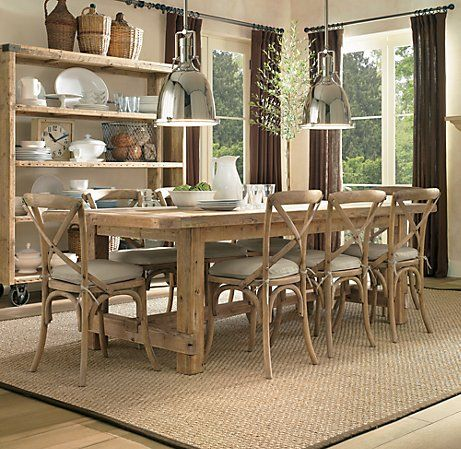 Restoration Hardware Pine Table Vintage Pendant Lights Jute Style Rug Open Shelving