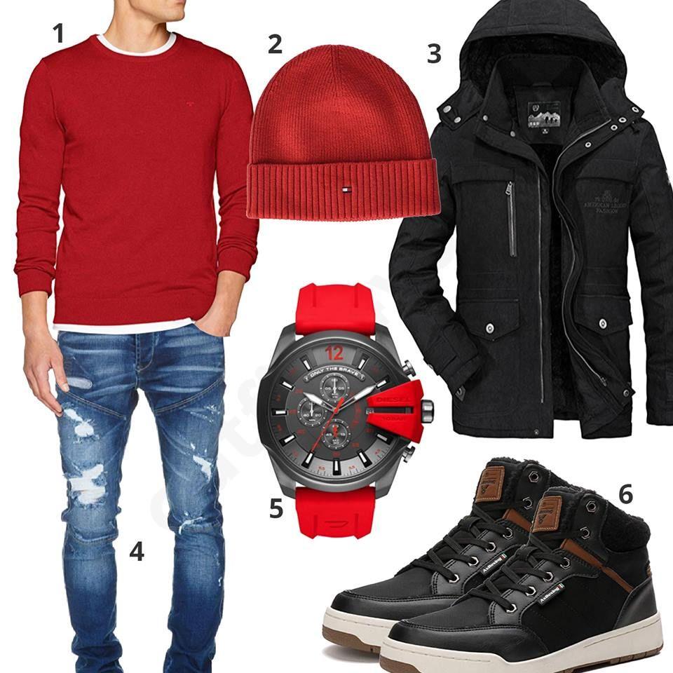 Schwarz Rotes Herrenoutfit Mit Sneakern Und Winterjacke Ropa De Hombre Moda Hombre Ropa