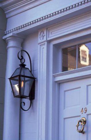 Periwinkle House Entrance Gas Lanterns Front Door Lighting