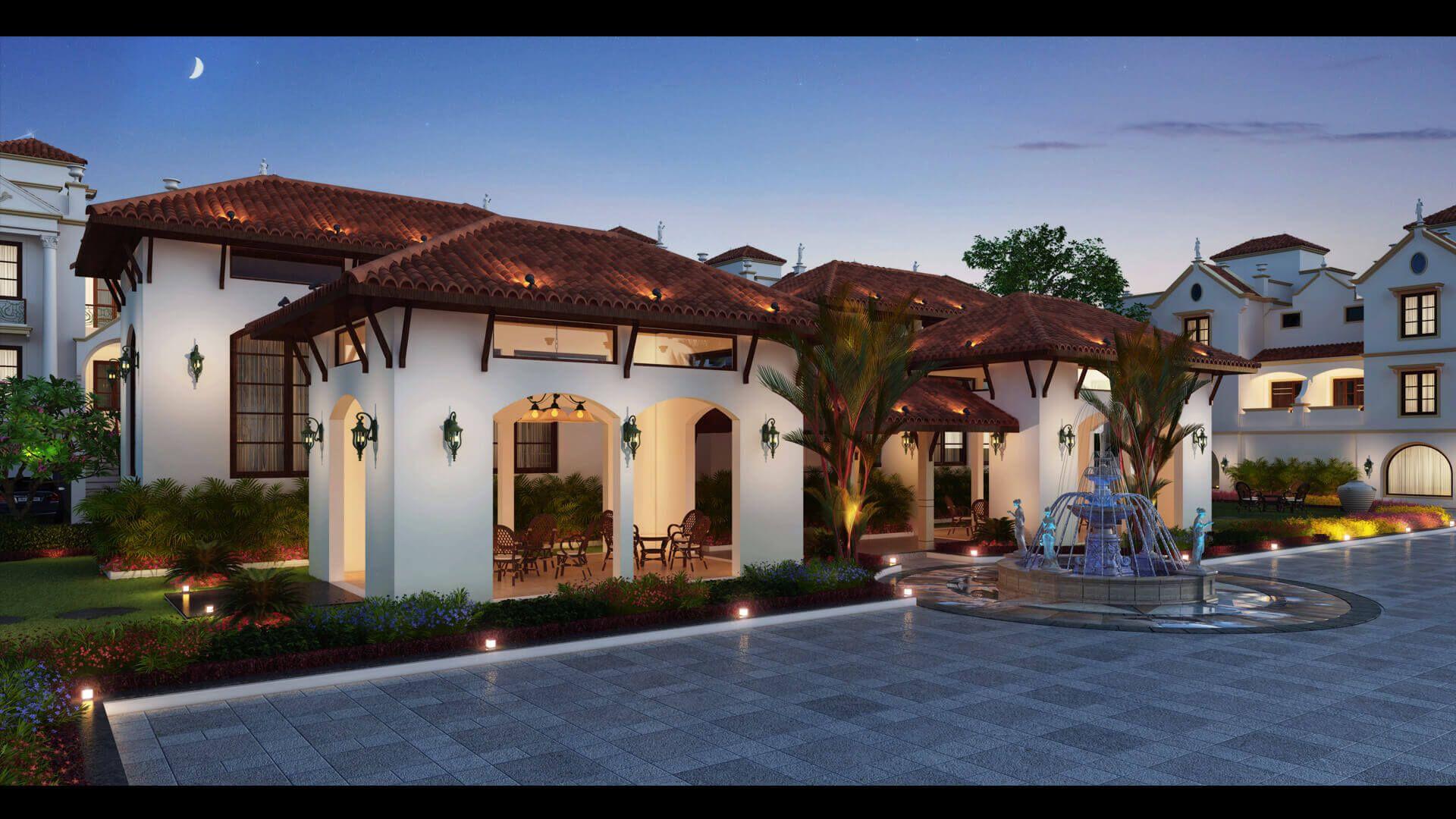 Exterior: 3d House Exterior Night View Design