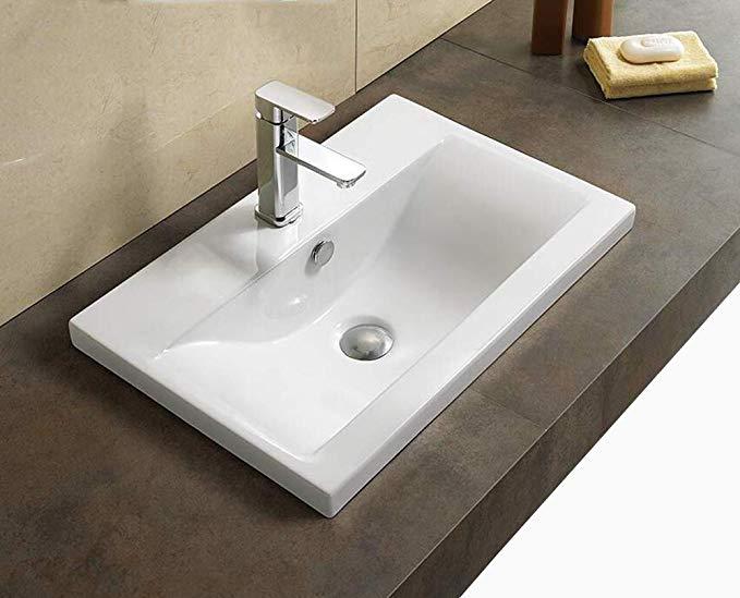 Elimax S Bathroom Semi Recessed Ceramic Porcelain Vessel Sink With