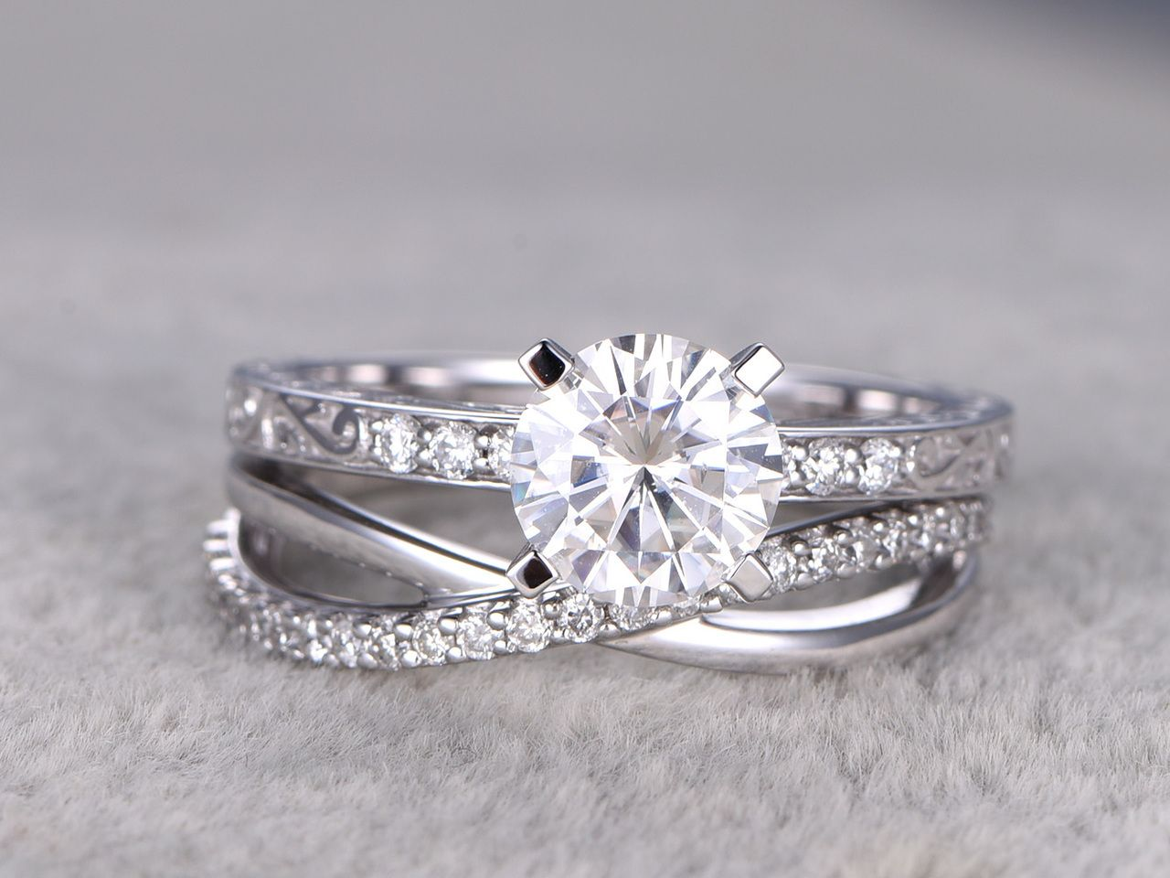 spectacular pcs moissanite wedding ring set diamond matching band white gold infinity loop curved pave stacking - Infinity Wedding Ring Set