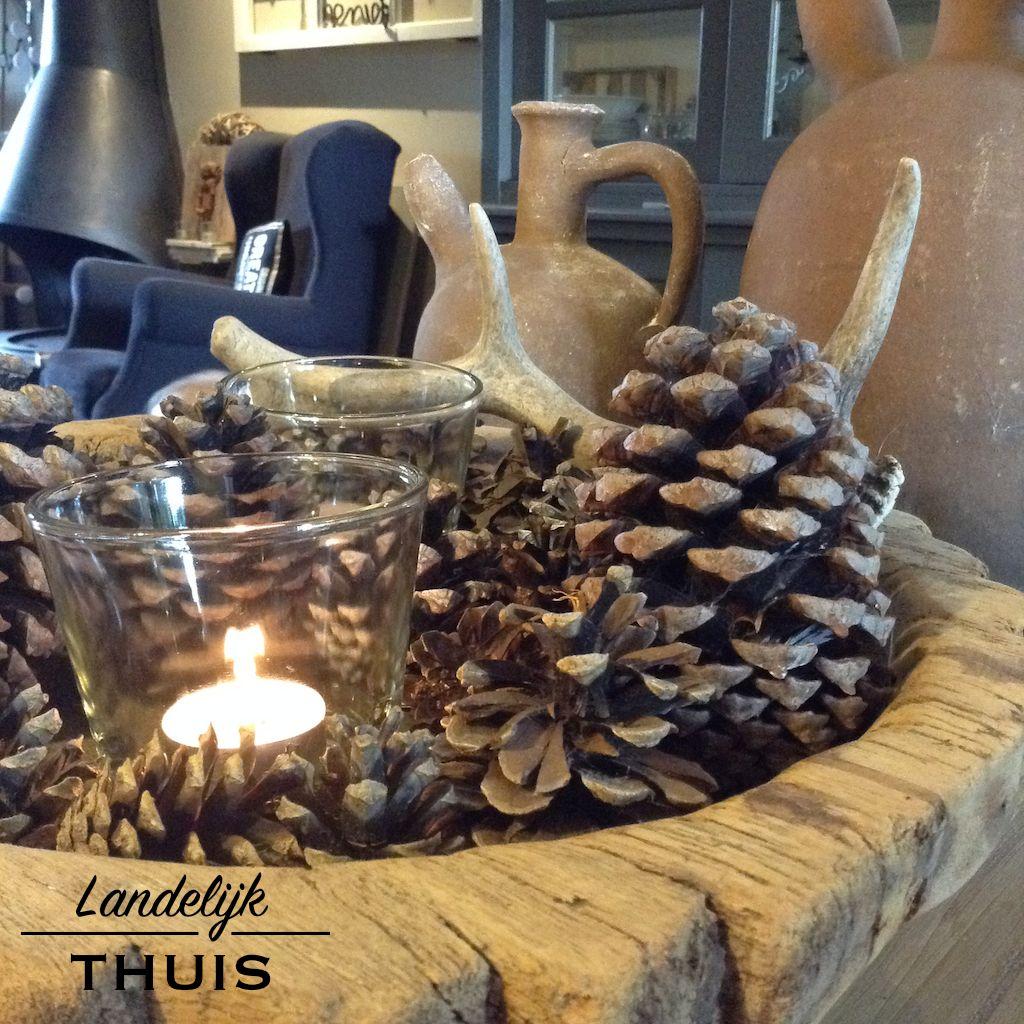 Robuuste houten schaal in herfstsfeer landelijk herfst for Huis inrichten op schaal