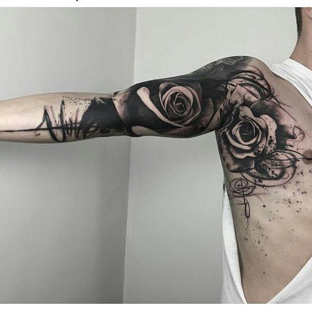 Black Rose Sleeve Tattoo Tattu Tattoos Sleeve Tattoos E Rose