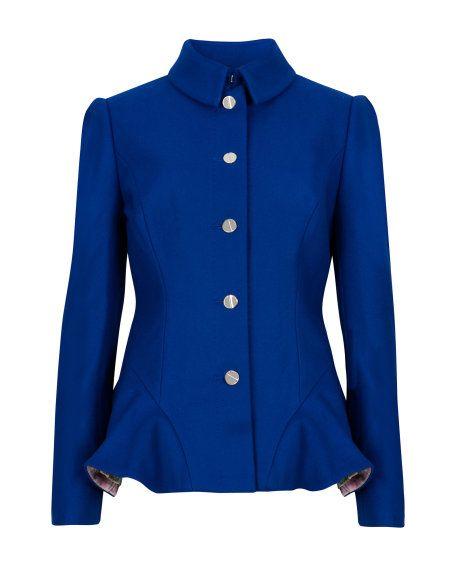 ec03252b0cde47 Wool peplum coat - Bright Blue