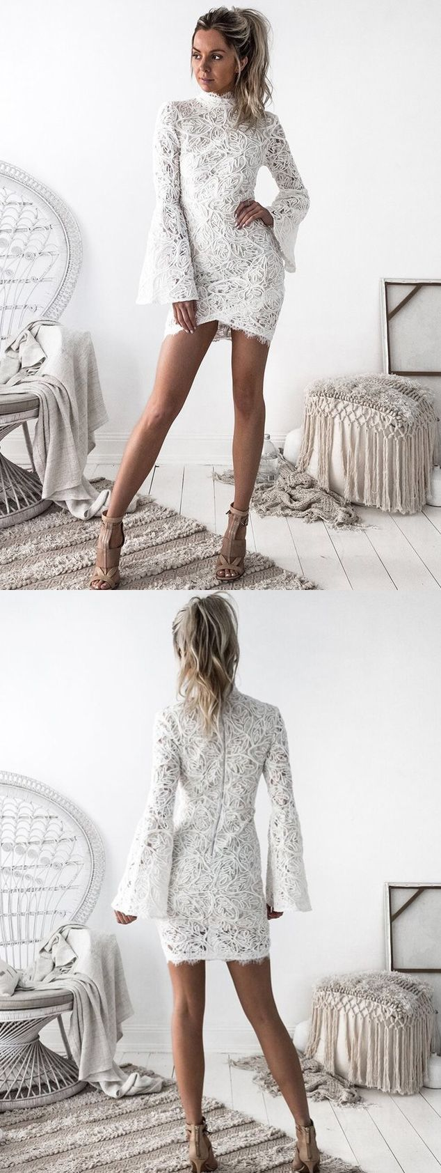 Sheath high neck flare sleeves white lace short homecoming dress