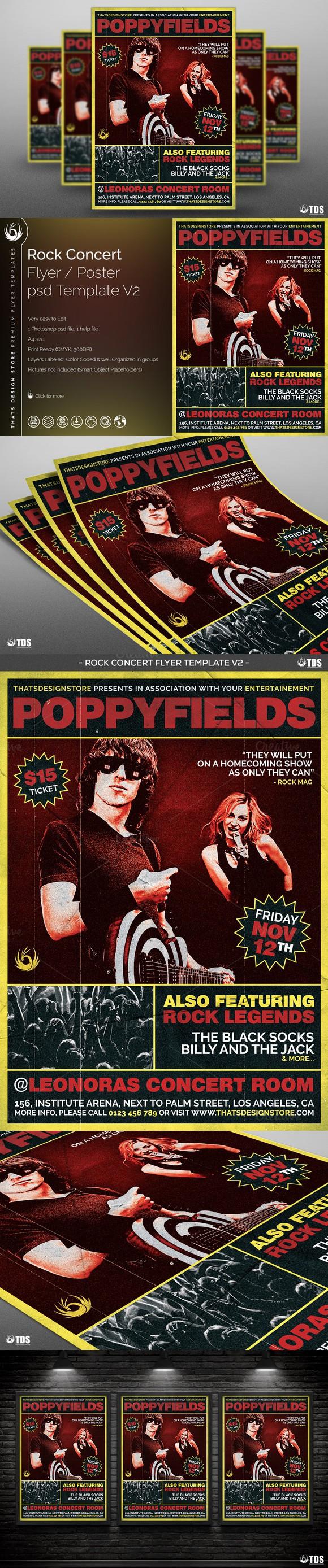 Rock Concert Flyer Template V2 Concert Flyer Rock Concert And