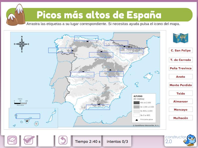 Mapa Picos De España.Picos Mas Altos De Espana Actividad Realizada Con