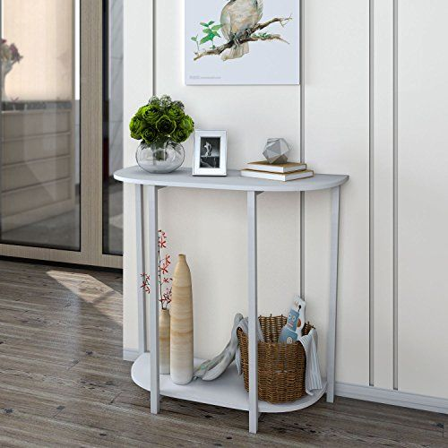 Lifewit Modern 2 Tier Console Table Entryway White